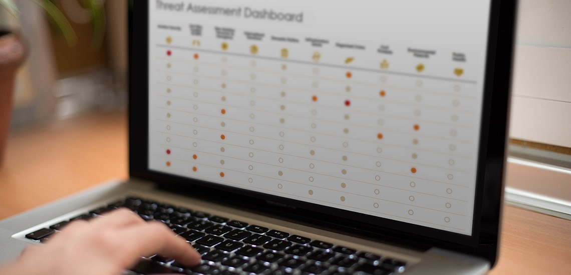 Laptop showing Oxford Analytica's Threat Assessment Dashboard