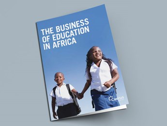 "Front page of Caerus Capital's ""The business of education in Africa"" report"